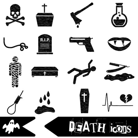 slaughter: death theme set of vector black simple icons Illustration