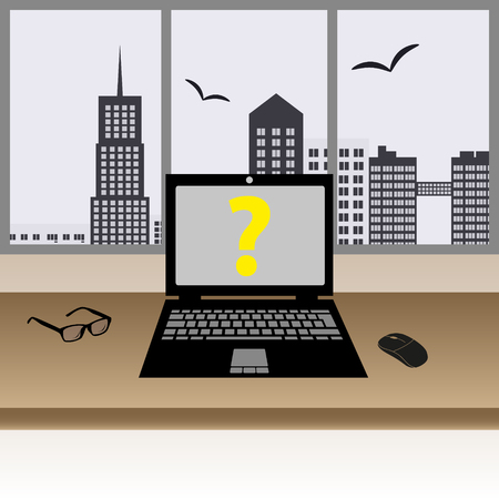 city center: laptop on the wooden table in the modern office with big windows in city center Illustration