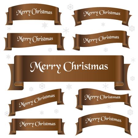 eslogan: brillante de color marrón feliz lema de la navidad banderas de la cinta curvada Vectores
