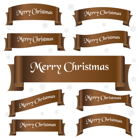 curved ribbon: brown shiny color merry christmas slogan curved ribbon banners