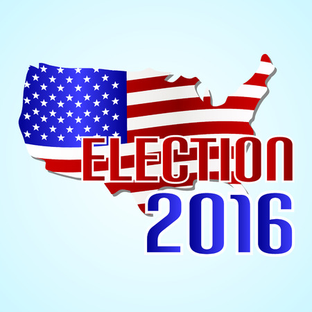 election 2016 in the united states of america with map flag