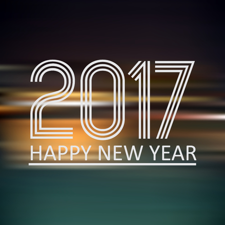 happy new year 2017 on dark color night horizontal abstract background
