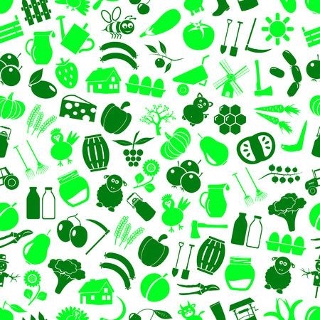 farm and farming big simple color icons seamless green pattern Illusztráció