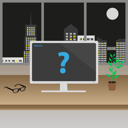night table: television or monitor on the wooden table in the modern office with big windows in the night city center Illustration