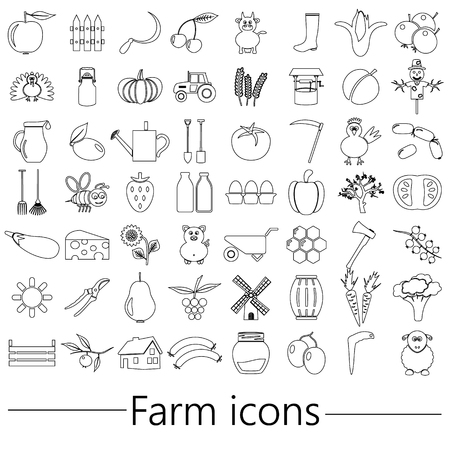 farm and farming big simple outline icons set vector Illusztráció