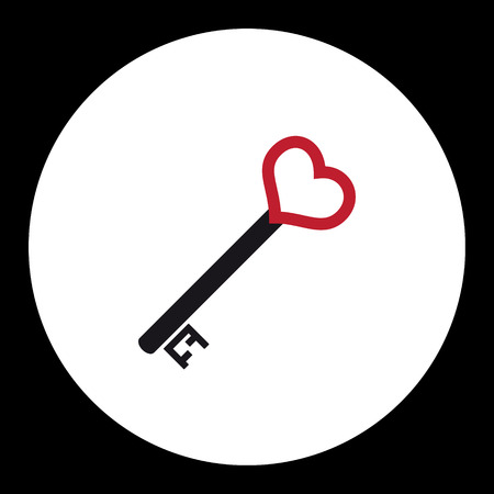 door lock love: black and red isolated simple old door key with heart icon