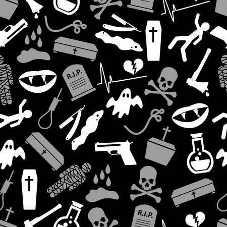 infarct: death theme set of vector icons black and white seamless pattern