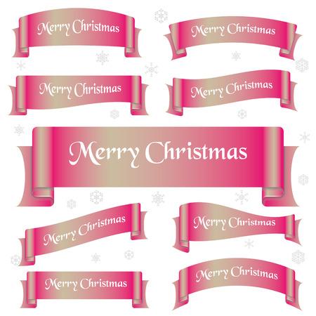eslogan: brillante de color rosa Feliz Navidad lema banderas de la cinta curvada