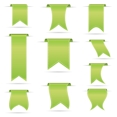 curved ribbon: green hanging curved ribbon banners set
