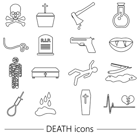 slaughter: death theme set of vector black simple outline icons Illustration