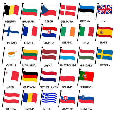 all european flags: simple color curved flags all european union countries collection Illustration