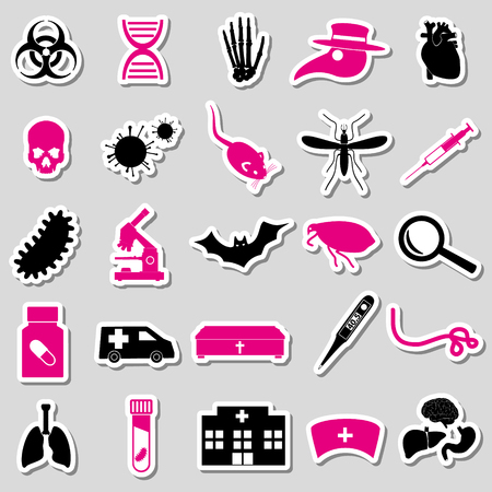 bacteria in heart: plague and disease theme simple stickers collection