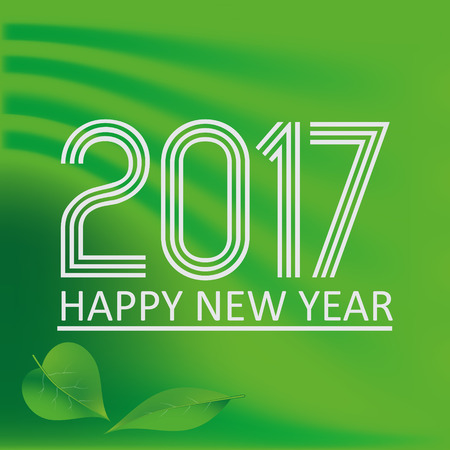 happy new year 2017 on green abstract color background