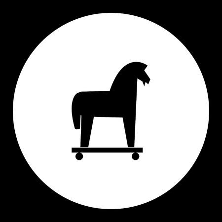 cavallo di troia: isolato simbolo cavallo di troia nero semplice icona