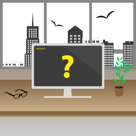 city center: television or monitor on the wooden table in the modern office with big windows in the city center Illustration