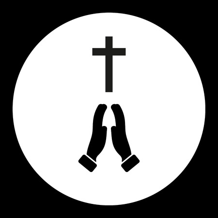 believer: black isolated religion cross and praying hands symbol simple icon eps10