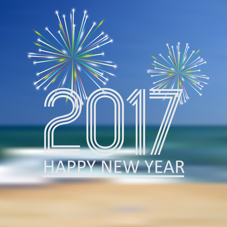 happy new year 2017 on blue beach like abstract color background with fireworks eps10