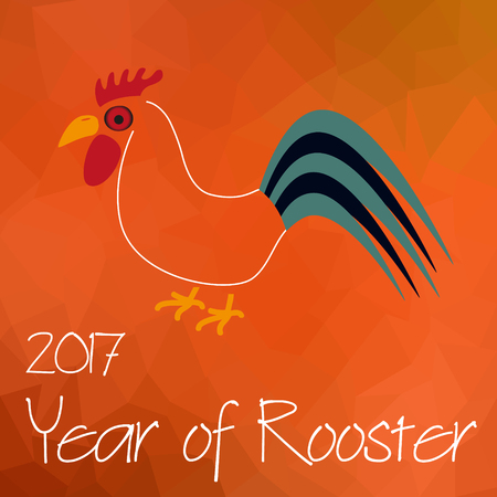 year of Rooster chinese calendar symbol on triangle low polygon red pattern eps10 Illustration
