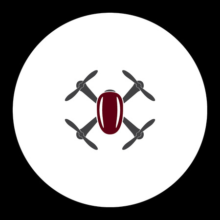 artifical: gray and red quadcopter drone isolated symbol simple icon eps10 Illustration