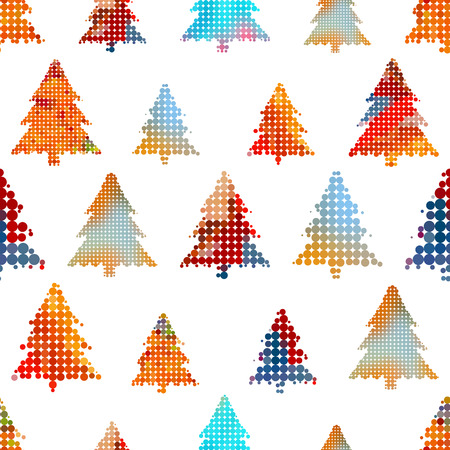 ensemble de Noël décoration d'arbre coloré petit cercle points modèle sans couture eps10