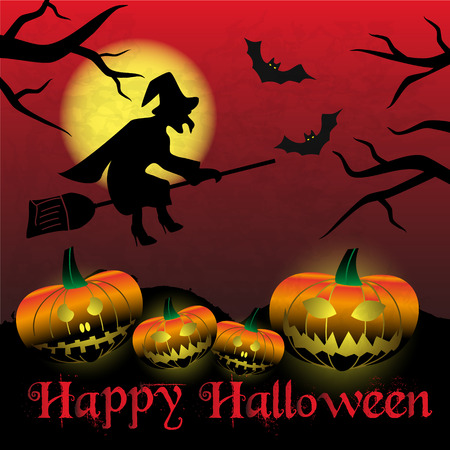 happy halloween carved pumpkins and scary witch background eps10