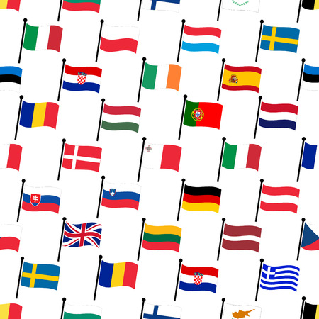 all european flags: simple color curved flags all european union countries collection seamless pattern eps10