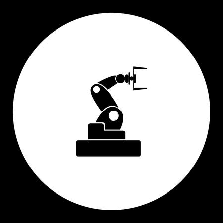 technics: black isolated robotic arm symbol simple icon eps10