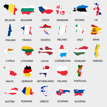 all european flags: simple color flags all european union countries like maps  collection eps10 Illustration