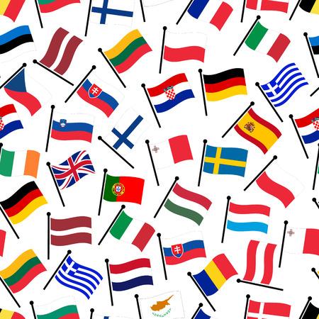 eenvoudige kleur gebogen vlaggen van alle landen van de Europese Unie naadloos patroon eps10