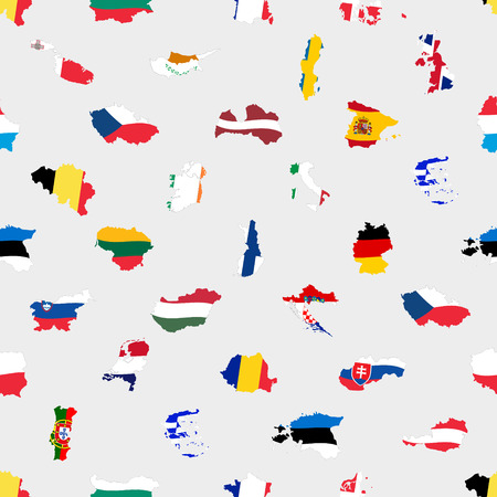 all european flags: simple color flags all european union countries like maps  seamless pattern eps10