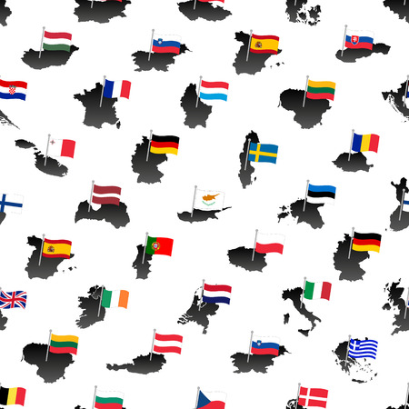 all european flags: simple color flags all european union countries on maps seamless pattern eps10 Illustration