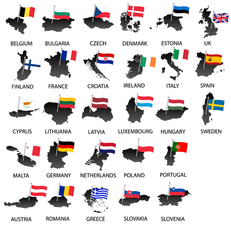 all european flags: simple color flags all european union countries on maps collection eps10