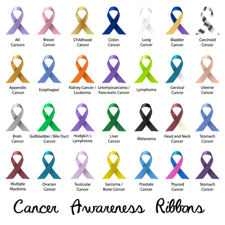 cancer awareness various color and shiny ribbons for help eps10 Vectores