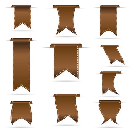 brown hanging curved ribbon banners set eps10