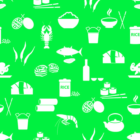 healty lifestyle: asian food theme set of simple icons green seamless pattern eps10 Illustration