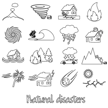 natural disasters: various natural disasters problems in the world outline icons eps10 Illustration
