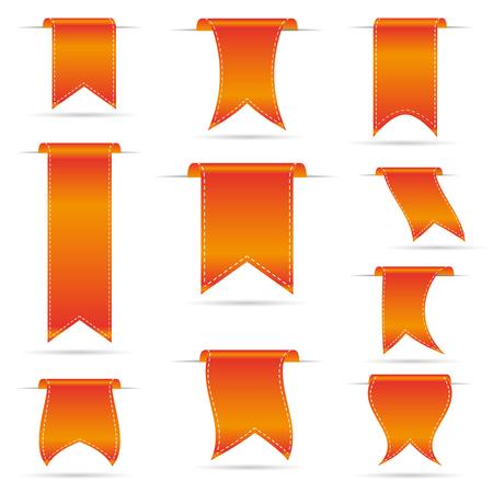 orange hanging curved ribbon banners set eps10