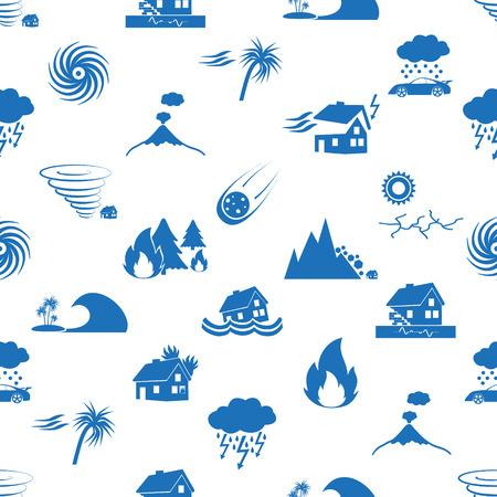 Diverse natuurrampen problemen in de wereld blauwe pictogrammen naadloze patroon eps10 Vector Illustratie