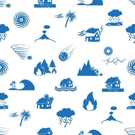 various natural disasters problems in the world blue icons seamless pattern eps10 Vector Illustration