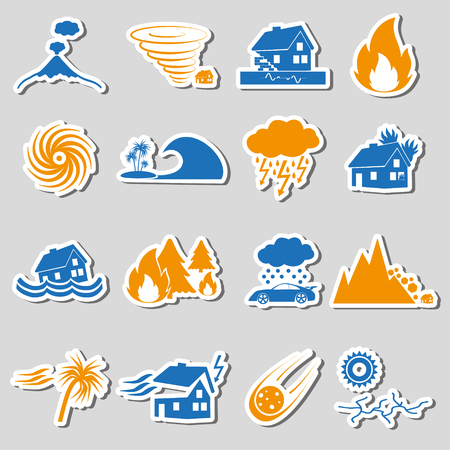 hailstone: various natural disasters problems in the world stickers icons eps10