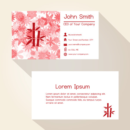 Business Card Of The Restaurant On Pink Background Vector