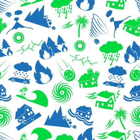 verschiedene Naturkatastrophen Probleme in der Welt Symbole nahtlose Muster eps10 Vektorgrafik