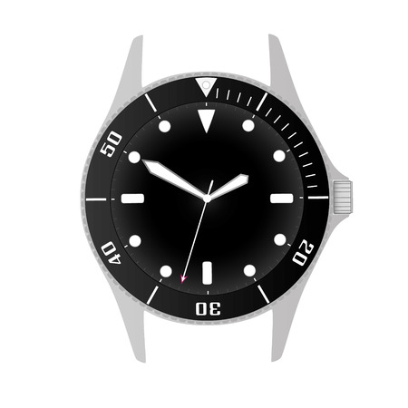 lugs: simple modern sport divers style black watch case and dial object Illustration