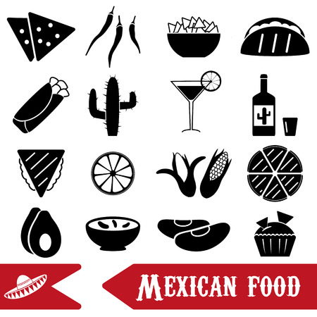 healty lifestyle: mexican food theme set of simple icons