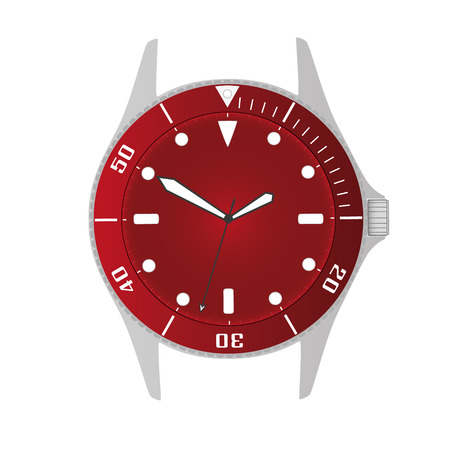 simple modern sport divers style red watch case and dial object