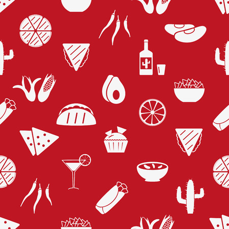 chips and salsa: mexican food theme set of simple icons red seamless pattern