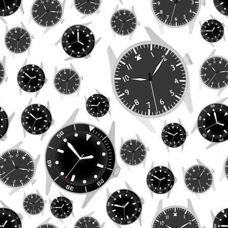 シンプル モダンなスポーツ ダイバーやパイロット スタイルの時計ケースをブラックし、シームレスなパターンをダイヤル