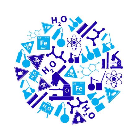 corrosive poison: blue chemistry theme icons set in circle Illustration