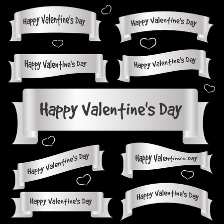 silver ribbon: silver gray valentine day curved ribbon banners