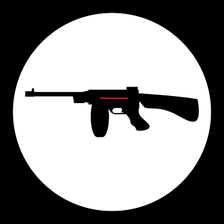 automat: red and black simple submachine gun icon